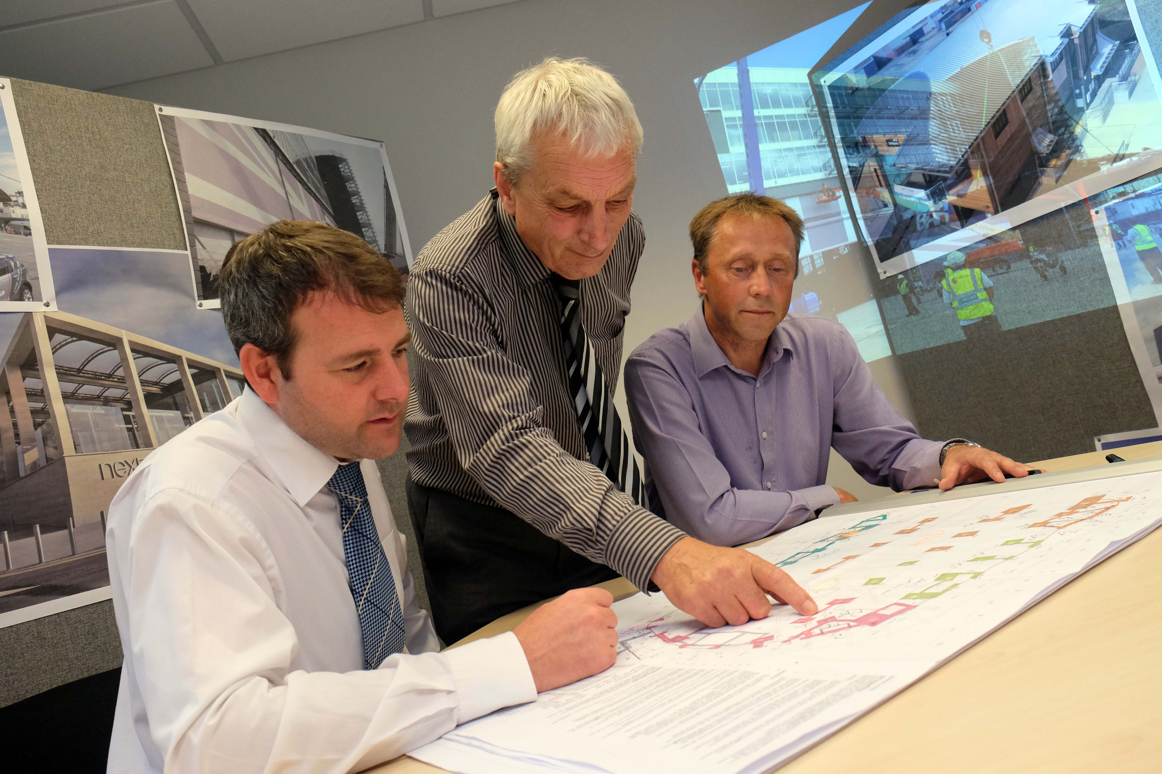 Tom Colbourne, of TA Colbourne, with Tim Bench, contracts manager, and Steve Reed, design manager.