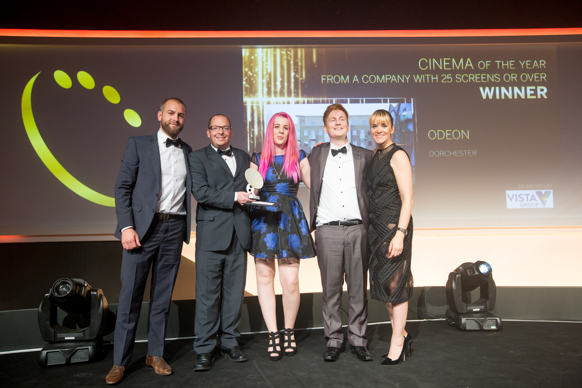 Chloe Pitney in the centre of the photo with the ODEON Dorchester team collecting Cinema of the Year at the 2015 Screen Awards