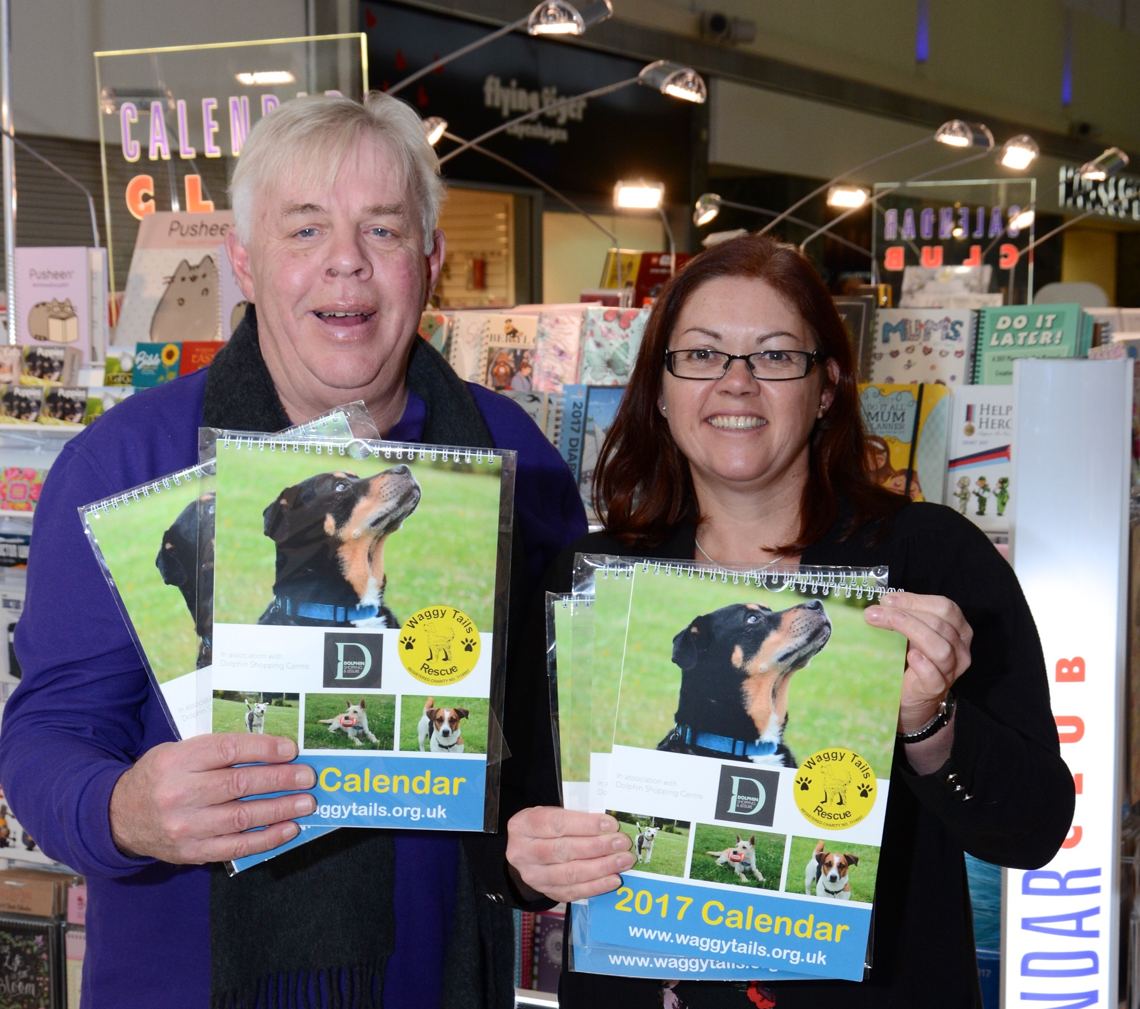 Paul Chapman of Waggy Tails Rescue and Lisa King of the Dolphin Shopping Centre