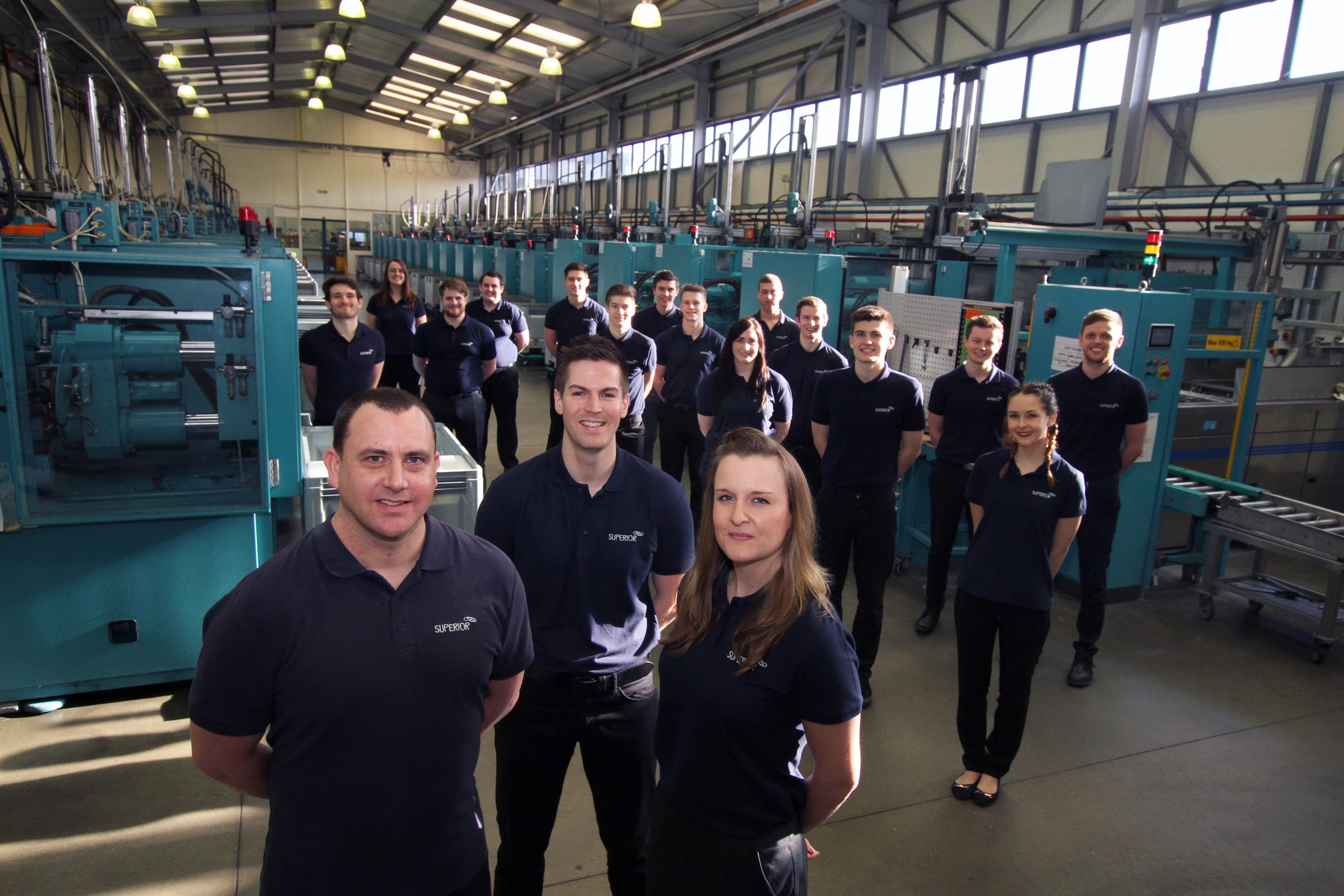 From left to right, Liam Stratten, training manager, Ben Clarke, quality manager and Katie Bodman, head of training academy with Superior apprentices.