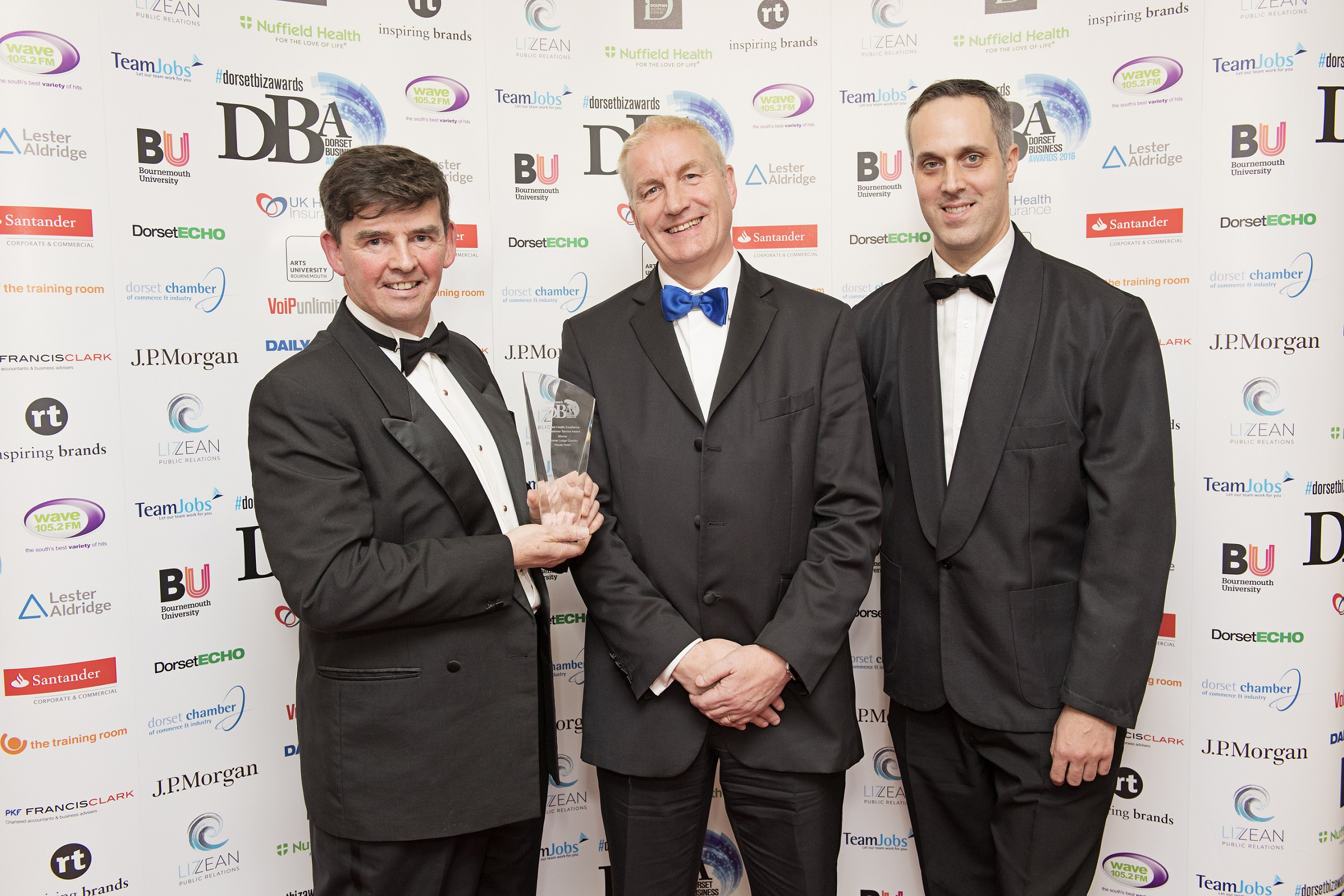 Kevin Reid of Summer Lodge Country House Hotel with David McNair of Nuffield Health Bournemouth Hospital and Jonathan Cocogne of Summer Lodge Country H