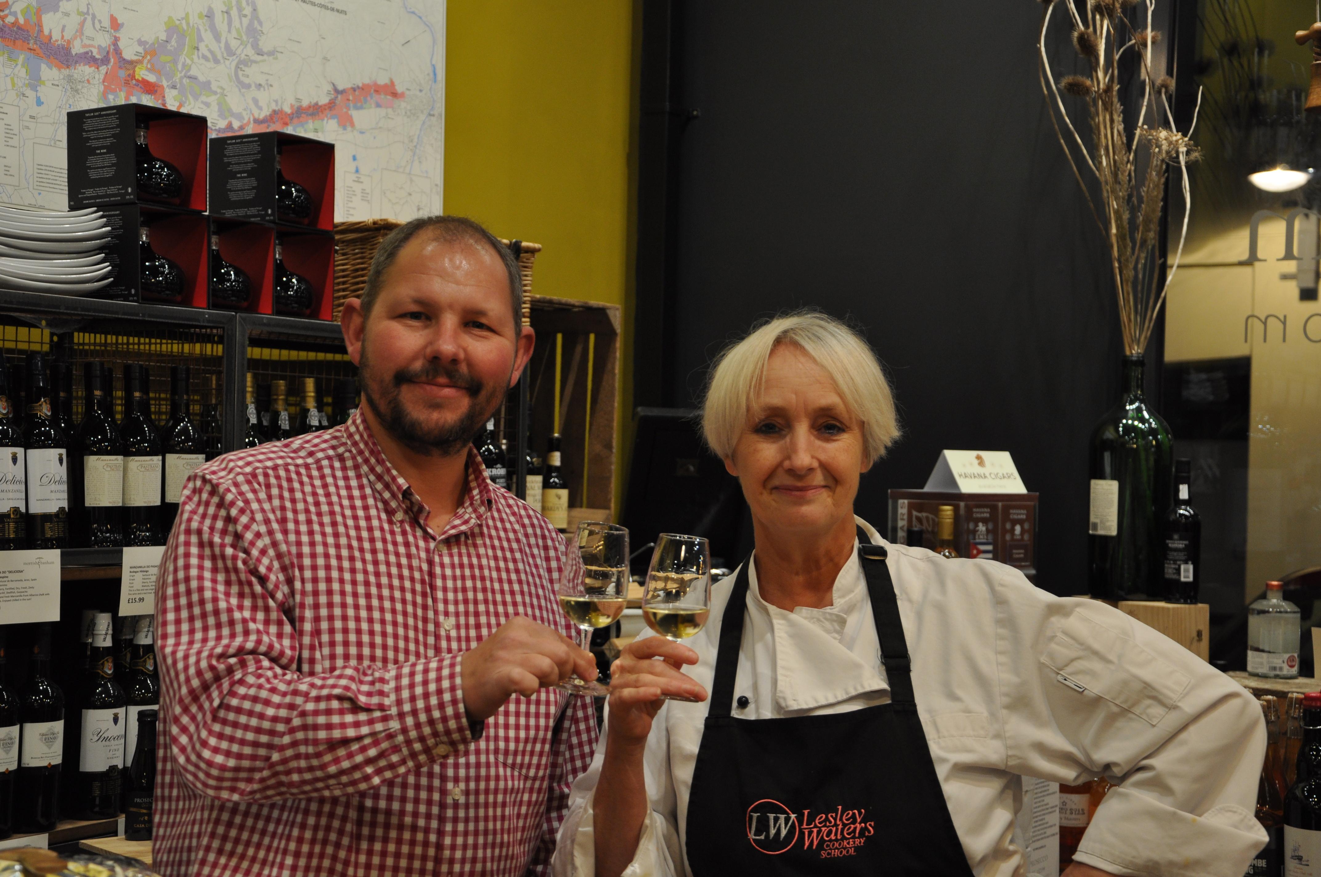 Mark Banham, Morrish and Banham wine merchants and tasting room, with Lesley Waters