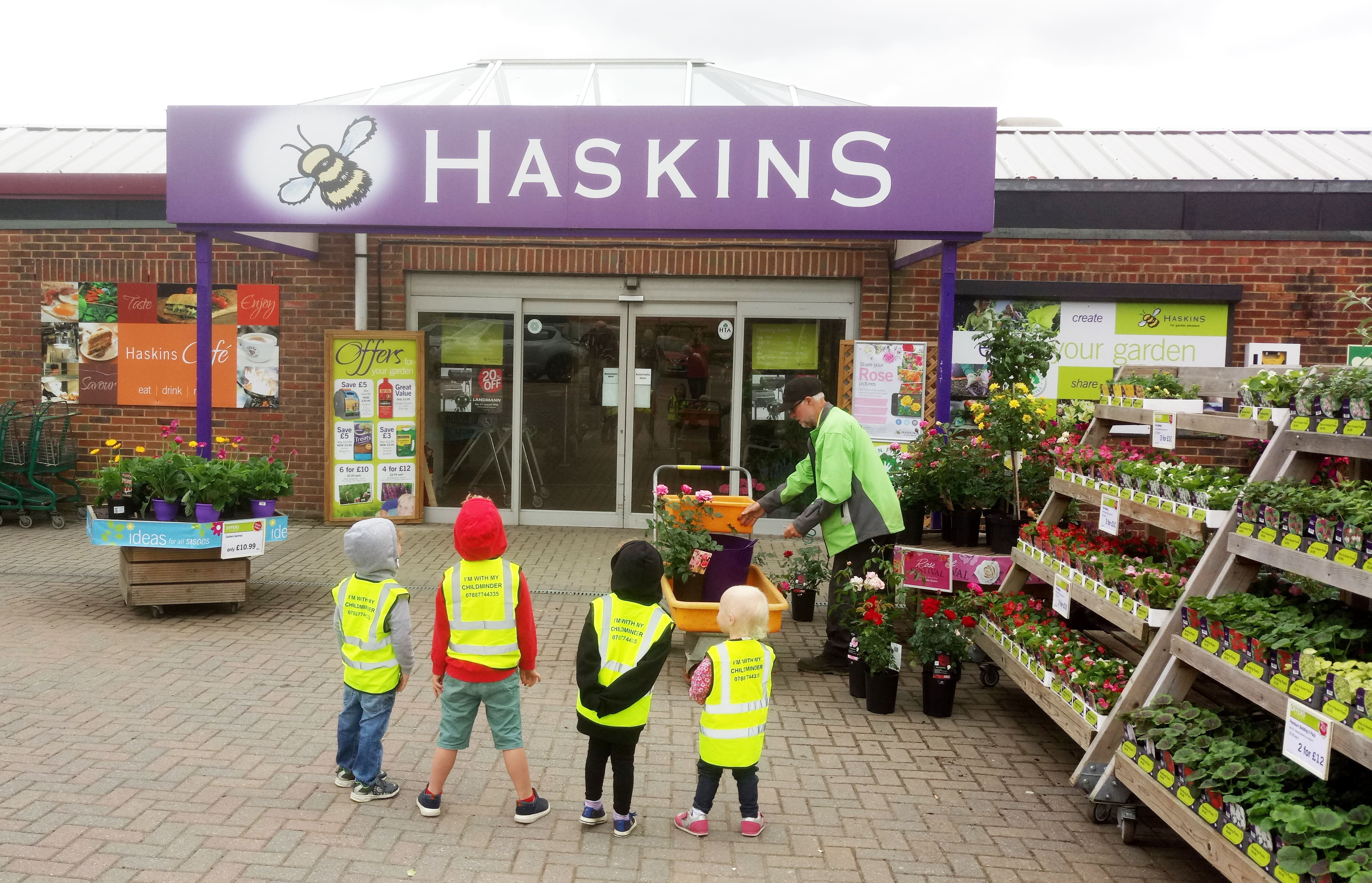 Local childminders visit Haskins Garden Centre to select vegetables and herbs for Windmill Lane Community Garden