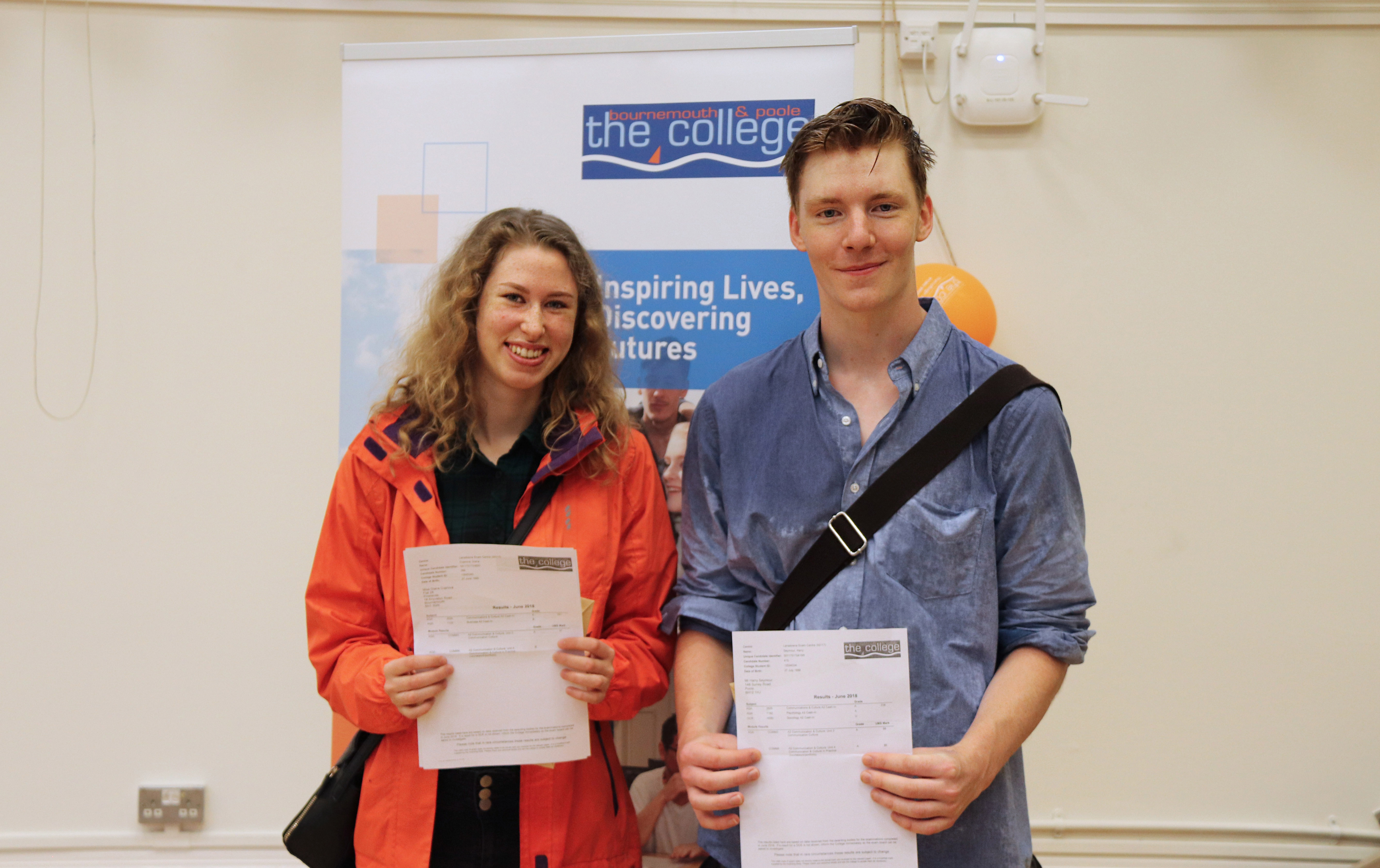 Diana Cuprova and Harry Seymour collects their A-Level results at Bournemouth & Poole College