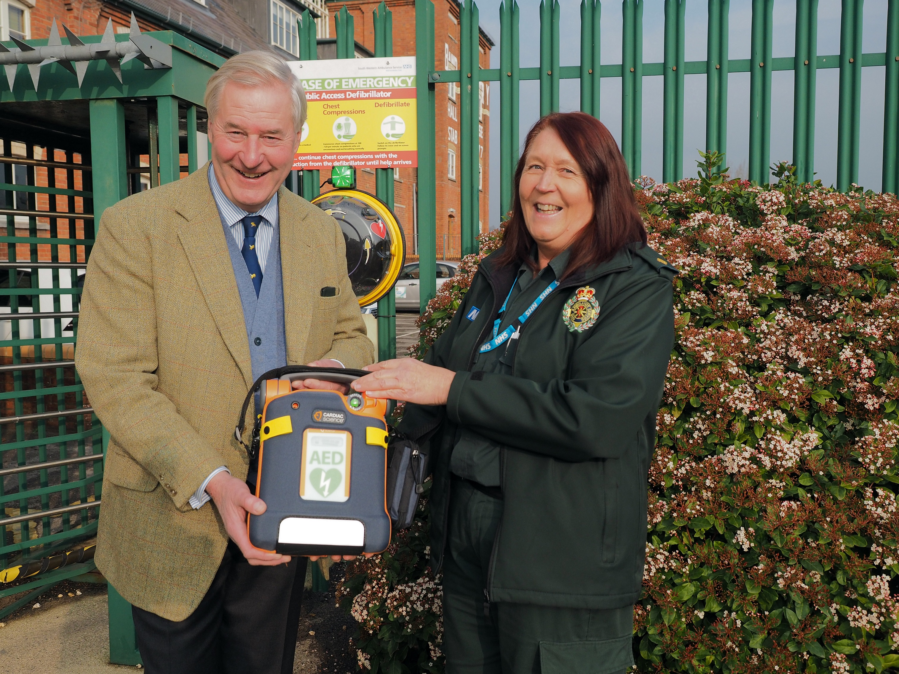L-R Mark Woodhouse, Chairman of Hall & Woodhouse, and Kate Fisher, SWASFT Assistant Community Responder Officer for Dorset