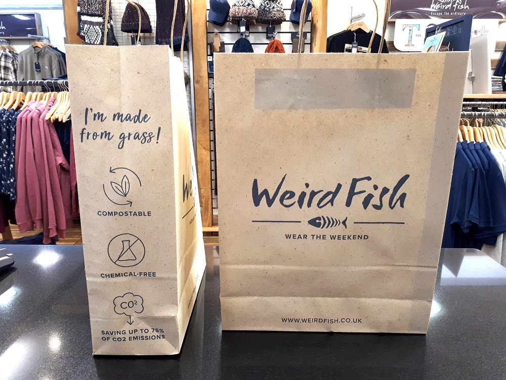 Weird Fish becomes first UK retailer to launch eco-friendly grass paper bags